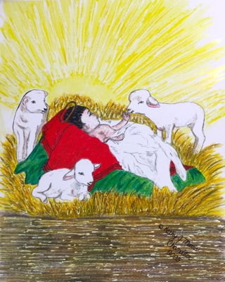 Baby Jesus Watercolor Print 11 X 15 by Kathy Marrs Chandler
