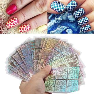 12 Sheets New Nail Irregular Grid Stencil Reusable Manicure Stickers Stamping Template Nail Art To
