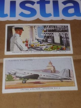 1936 JOHN PLAYER CIGARETTE CARDS⭐TWO CARDS⭐INTERNATIONAL AIRLINERS■NO.7 & 42■FREE $HIPPING