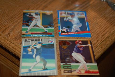 Set of 4 Texas Rangers Baseball Cards - Zeile