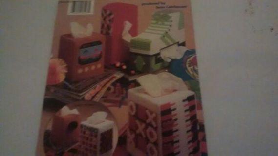 Plastic canvas Fun'n Games tissue box covers