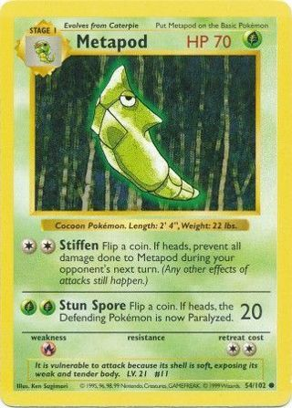 Metapod - 54/102 - Common (Shadowless) Base Set Shadowless Singles