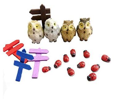 Terrarium Miniature Garden Ornaments, 18pcs Fairy Garden Accessories Resin Owls Ladybug Road Sign