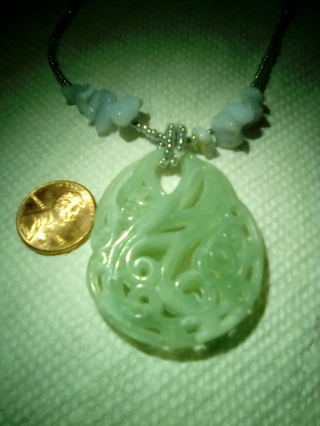 Faux Carved Jade,Stones,Beads,Necklace