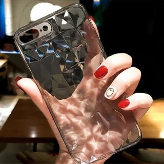 Fashion Diamond Texture Case For iPhone 7 8 Case Transparent / iPhone 6 6s 7 8 Plus Cover Silicone