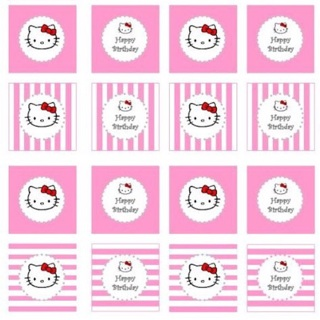 16 Hello Kitty Cupcake Toppers Or 12 Water Bottle Labels