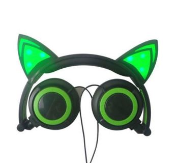 1 NEW Light Up Glowing LED Kitty Cat Headphones Over Earphones 5 Feet Cable FREE SHIPPING
