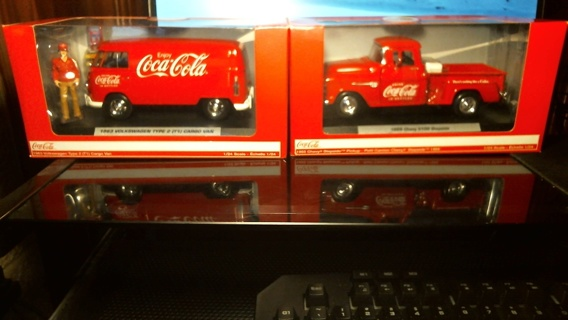 "New in Boxes Two 1:24 Scale Die-Cast Models: ""COCA-COLA 1963 Volkswagen Van & 1955 Chevy Truck"""