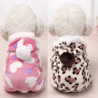 Leopard Winter Warm Pet Small Dog Cat Puppy Clothes Cute Hoodie Jumpsuit Outwear