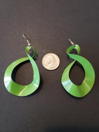 Vintage Green Metal Twist Earrings