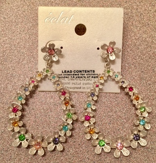 New Genuine Swarovski Crystal Earrings With Flowers