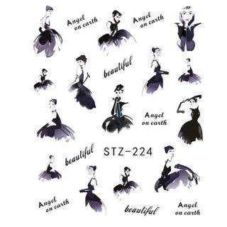 1 Sheets Beautiful Dance Girl Nail Art Charm DIY Watermark Decals Nail Art Sticker NEW Polish Deco