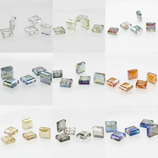 20PCs 5x5mm Faceted Glass Crystal Loose Spacer Teardrop Charm Square Beads