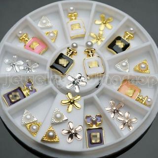 18 Pcs 3 Styles 3D Nail Art Tips Alloy Pearl Perfume Jewelry Decoration + Wheel