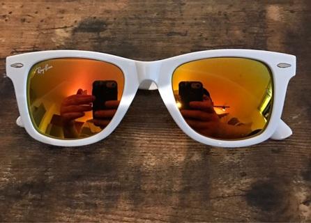 White & Fire Mirror Rayban Sunglasses