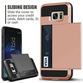 For Samsung Galaxy S10,Note 9, S9, S8 Rugged Armor Card Pocket Wallet Case Cover