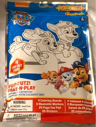 BNIP Paw Patrol's Take n Play Set: Coloring Boards,Washable Markers,24 Pgs &25 Stickers
