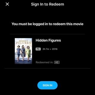 Hidden figures HD MA digital code vudu