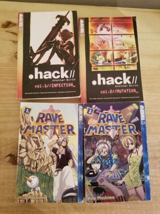 NOVEL/MANGA LOT.HACK/ANOTHER BIRTH 1-2;RAVE MASTER 1-2.FREE SHIPPING
