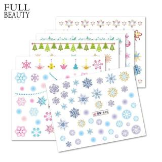 Full Beauty 12 Designs Colorful Nail Sticker Winter DIY Snowflakes Nail Art Decoration Tips Christ