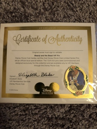 Disney movie club exclusive Beauty and the Beast pin (Updated)