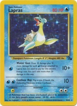 1 Lapras - 10/62 - Holo Unlimited Fossil Unlimited Singles Pokemon Card