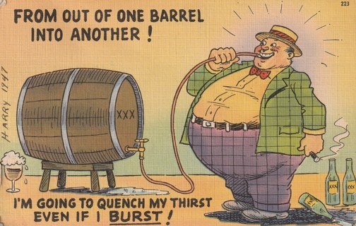 Vintage Used Postcard: Linen: 1947 From Out of One Barrel into Another