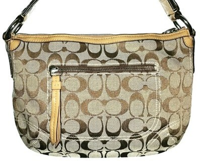 "COACH #13114 - Khaki Doe Signature ""C"" Hobo!"