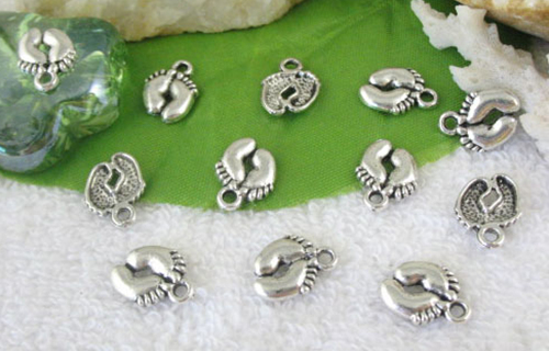 2 New Tibetan Silver footprint baby toes charms