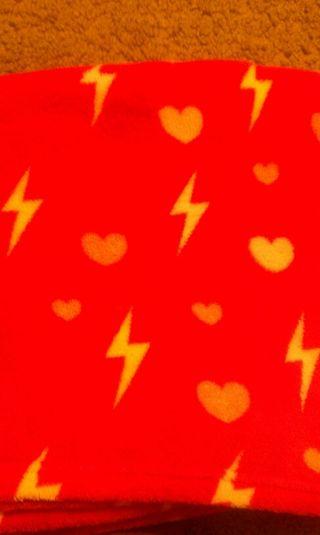 lightning and heart print blanket