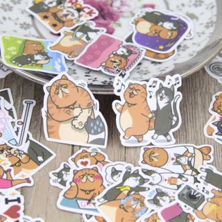 ♡ Fat Cat and Friend High End Kawaii Sticker Flakes Set of 10 BRAND NEW ♡