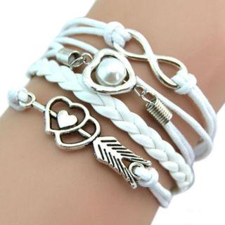 Infinity Love Friendship Charm Leather Bracelet 17-22 cm