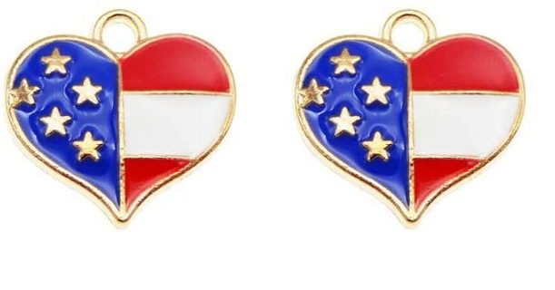 10pcs USA Flag Heart Charms Lot A6 (PLEASE READ DESCRIPTION)