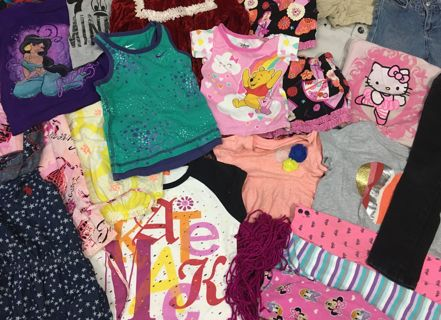 GIRL'S CLOTHING LOT TODDLER CLOTHES STUFFED LARGE BOX KID'S CHILDREN LOT #4