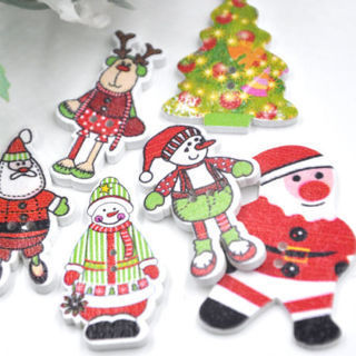 50PCs Mix Style Merry Christmas Wood Buttons Sewing Mix Lots