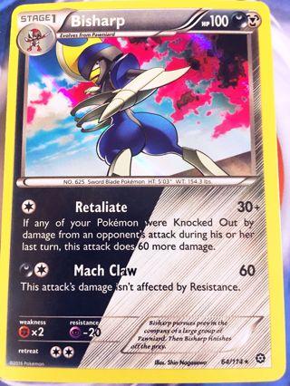 1 Bisharp 64/114 Holo Rare XY Steam Siege Singles Pokemon Card TCG