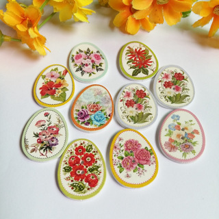 [GIN FOR FREE SHIPPING] 40PCs Mixed Color Pattern Wooden Buttons Easter Eggs