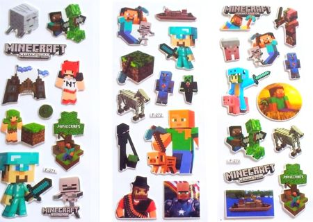 NEW MINECRAFT Pop Up Stickers Super Cute!...Winner Gets ALL (3) Sheets! FREE SHIPPING GIN (X)