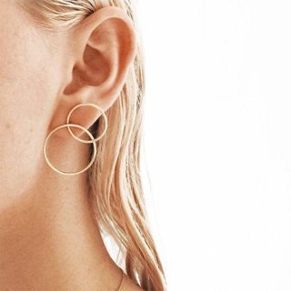 Bohemian Simple Exquisite Geometric Openwork Double Circle Gold Silver Earrings Women Fashion Party