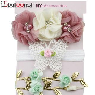 BalleenShiny 3Pcs/lot Fashion Flower Headband Baby Girls Butterfly Leaf Hair Band Children Gift Pr