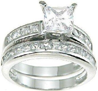 NEW Ring Set Princess Cut Cubic Zirconia Silver Plated 2 Pcs/Set FREE SHIPPING