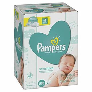 Pampers Sensitive Baby Diaper Wipes, 9 Refill Packs for Dispenser Hypoallergenic Unscented 576 Count