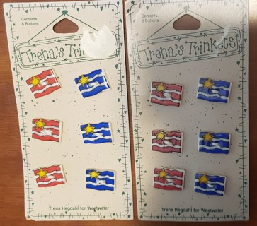 NEW - Trena's Trinkets - 12 flag buttons