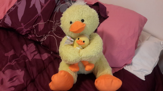 STUFFED MOMMY DUCK WITH BABY DUCK  (14 INCHES TALL WHEN SITTING)