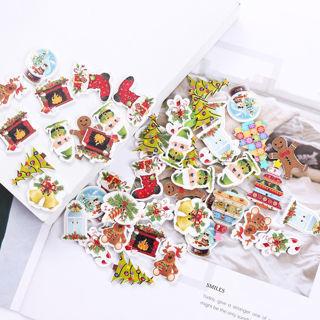 50Pcs Wood Sewing Decor Buttons Christmas Santa Claus