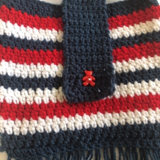 Hand Crocheted Purse with Cross Body Shoulder Strap.