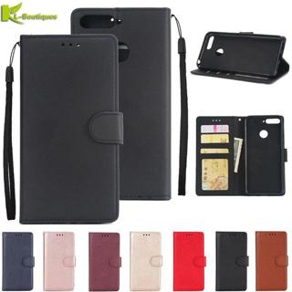 Y6 Prime 2018 Leather Case on for Huawei Y6 Prime 2018 Y 6 Prime Cover Classic Style Solid Color F