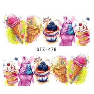 1 Sheets Nails Art Stickers Manicure Summer Slider Ice Cream Drink Fruit Stickers For Nails DIY De