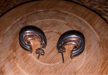 Vtg 925 Thick Huggie Lobe Earrings, Stamped, Nice Set!