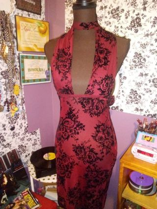 Handmade sexy floral sheer dress & choker
